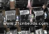 CRB2101 15.5 inches 9mm - 10mm faceted tyre black tourmaline beads