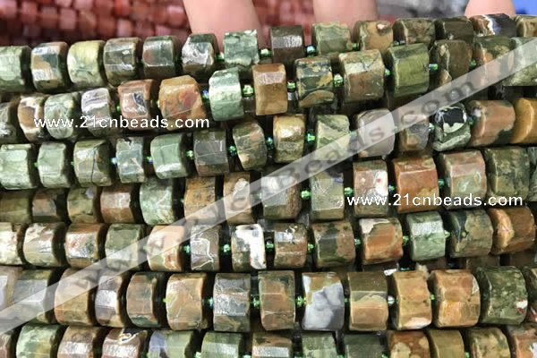 CRB2120 15.5 inches 7mm - 8mm faceted tyre rhyolite gemstone beads