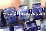 CRB2137 15.5 inches 11mm - 12mm faceted tyre sodalite gemstone beads