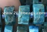 CRB2147 15.5 inches 11mm - 12mm faceted tyre apatite gemstone beads