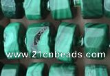 CRB2151 15.5 inches 9mm - 10mm faceted tyre malachite beads