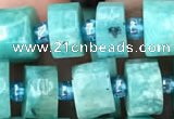 CRB2161 15.5 inches 9mm - 10mm faceted tyre amazonite gemstone beads