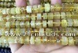 CRB2170 15.5 inches 8mm - 9mm faceted tyre yellow opal beads