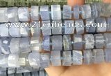 CRB2189 15.5 inches 12mm - 13mm faceted tyre blue chalcedony beads
