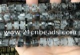 CRB2193 15.5 inches 11mm - 12mm faceted tyre black rutilated quartz beads