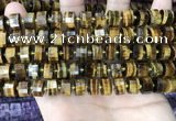 CRB2197 15.5 inches 10mm - 11mm faceted tyre yellow tiger eye beads