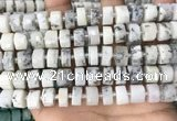 CRB2208 15.5 inches 11mm - 12mm faceted tyre white opal beads