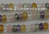 CRB222 15.5 inches 2.5*4mm faceted rondelle mixed quartz beads
