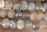 CRB2256 15.5 inches 3*4mm faceted rondelle rainbow moonstone beads