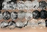 CRB2266 15.5 inches 3*4mm faceted rondelle black rutilated quartz beads