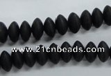 CRB26 15.5 inches 6*10mm rondelle blackstone gemstone beads