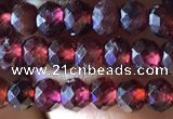 CRB2602 15.5 inches 3*4mm faceted rondelle red garnet beads