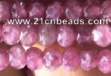 CRB2611 15.5 inches 3*4mm faceted rondelle ruby gemstone beads