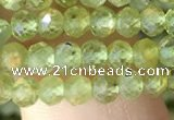 CRB2636 15.5 inches 3*4mm faceted rondelle peridot gemstone beads