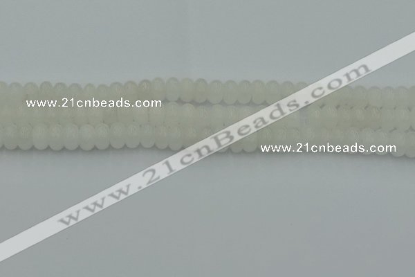CRB2811 15.5 inches 5*8mm rondelle white jade beads wholesale