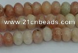 CRB2840 15.5 inches 4*6mm rondelle red plum blossom jade beads