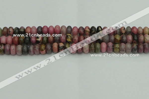 CRB2887 15.5 inches 6*10mm rondelle rhodonite beads wholesale
