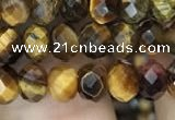 CRB3039 15.5 inches 4*6mm faceted rondelle yellow tiger eye beads