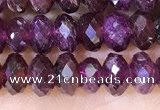 CRB3190 15.5 inches 4*6mm faceted rondelle tiny red garnet beads