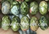 CRB4118 15.5 inches 5*8mm faceted rondelle unakite beads