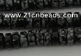 CRB431 15.5 inches 5*8mm rondelle snowflake obsidian beads