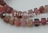 CRB459 15.5 inche 5*8mm tyre matte strawberry quartz gemstone beads