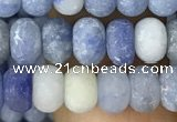 CRB5005 15.5 inches 4*6mm rondelle matte blue aventurine beads