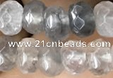 CRB5102 15.5 inches 4*6mm faceted rondelle cloudy quartz beads
