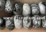 CRB5111 15.5 inches 4*6mm faceted rondelle grey picture jasper beads