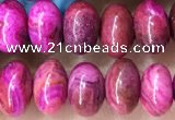 CRB5303 15.5 inches 4*6mm rondelle fuchsia crazy lace agate beads
