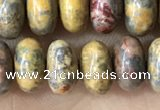 CRB5335 15.5 inches 5*8mm rondelle leopard skin jasper beads