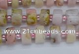 CRB542 15.5 inches 5*8mm tyre natural pink opal gemstone beads