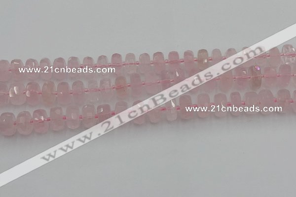 CRB557 15.5 inches 6*10mm faceted rondelle rose quartz beads