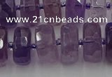 CRB568 15.5 inches 8*16mm faceted rondelle amethyst beads