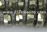 CRB600 15.5 inches 8*16mm faceted rondelle pyrite beads