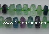 CRB614 15.5 inches 6*10mm faceted rondelle fluorite beads