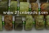 CRB666 15.5 inches 6*12mm tyre green garnet gemstone beads