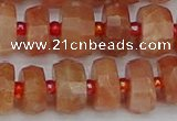CRB818 15.5 inches 6*10mm faceted rondelle orange moonstone beads