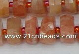 CRB819 15.5 inches 7*12mm faceted rondelle orange moonstone beads