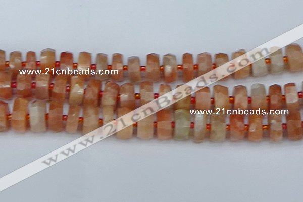 CRB822 15.5 inches 8*18mm faceted rondelle orange moonstone beads