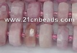 CRB828 15.5 inches 8*14mm faceted rondelle kunzite beads