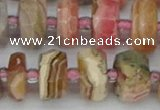 CRB836 15.5 inches 8*14mm faceted rondelle rhodochrosite beads