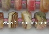CRB838 15.5 inches 8*18mm faceted rondelle rhodochrosite beads