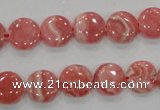 CRC106 15.5 inches 12mm flat round natural argentina rhodochrosite beads