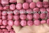 CRC1062 15.5 inches 14mm flat round rhodochrosite beads