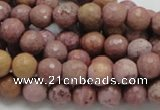 CRC58 15.5 inches 8mm faceted round rhodochrosite gemstone beads