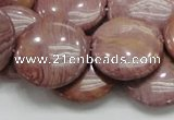 CRC75 15.5 inches 25mm flat round rhodochrosite gemstone beads