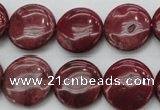 CRC816 15.5 inches 16mm flat round Brazilian rhodochrosite beads