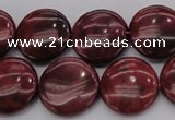 CRC817 15.5 inches 18mm flat round Brazilian rhodochrosite beads