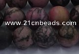 CRD27 15.5 inches 12mm round matte rhodonite beads wholesale